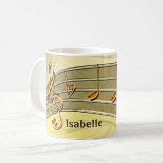 Mug Or et personnel beige et notes de musique