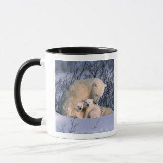 Mug Ours blanc de mère se reposant avec des jumeaux,