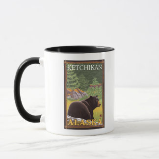 Mug Ours noir dans la forêt - Ketchikan, Alaska