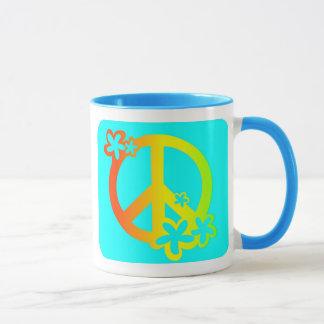 Mug paix avec des couleurs de rasta de fleurs