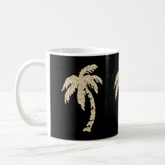 Mug Palmiers chics d'or noirs/tasse de thé café blanc