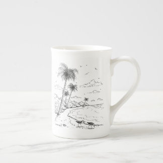 Mug Palmiers et vie de plage de bécasseau