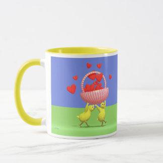 Mug Panier de coeurs de poulets de Valentine