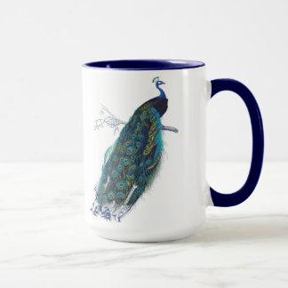 Mug Paon bleu avec de belles plumes de queue
