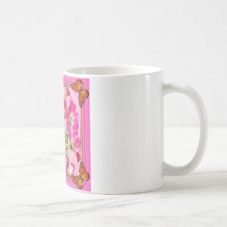 Mug Papillon de monarque rose fuchsia floral
