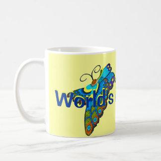 Mug Papillon jaune et bleu de la meilleure maman du