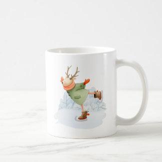 Mug Patineur de glace d'hiver de cerfs communs de