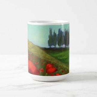 Mug Pavots rouges en Toscane Italie