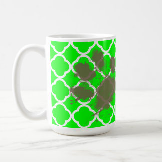 Mug Pawprint drôle sur Quatrefoil vert électrique