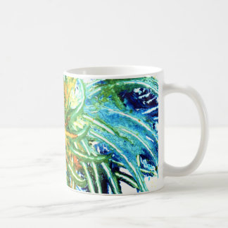 Mug Peinture vert-bleu et jaune de spirale d'art