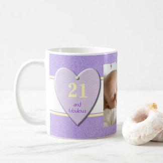 Mug Photo personnalisée d'anniversaire de pourpre