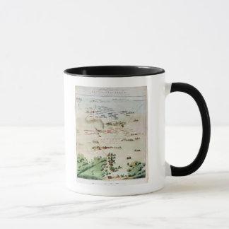 Mug Plan et vue de la bataille de waterloo