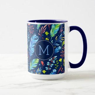 Mug Plume de Boho et motif de fleurs colorés
