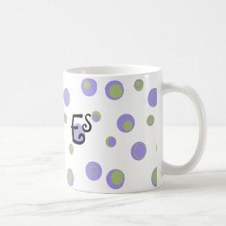 Mug Pois vert pourpre décoré d'un monogramme