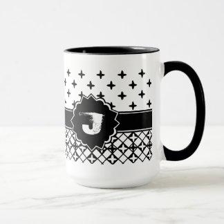 Mug Quatrefoil blanc noir décoré d'un monogramme