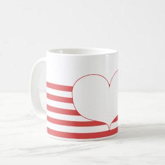 Mug Rayures et coeur rouges et blancs