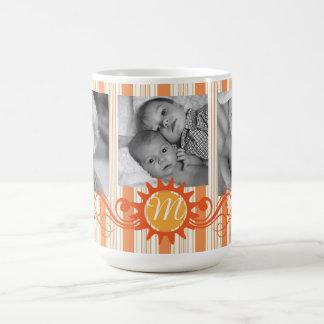 Mug Rayures et monogramme Flourish-Oranges