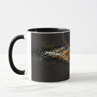 Mug Remous abstraits de Brown d'or d'art contemporain