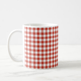 Mug Rétro guingan Checkered rouge et blanc