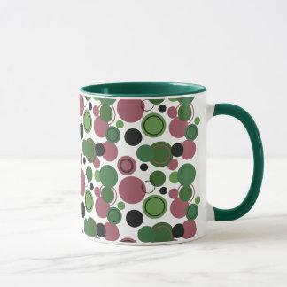 Mug Rétro pois de vert et de rose en abondance