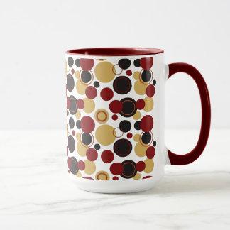 Mug Rétro pois en abondance en rouge et Jaune-Or