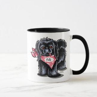 Mug Rose personnalisé par nom d'animal domestique noir