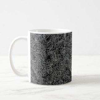 Mug Rouleaux linéaires (blancs sur le noir)