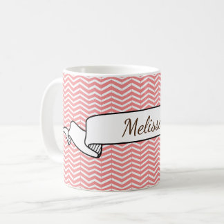 Mug Saumon rose et tatouage blanc de bande dessinée de
