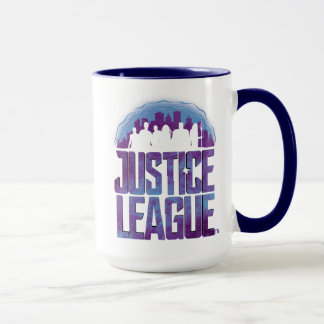 Mug Silhouette de ville de ligue de justice de la
