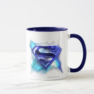 Mug Superman a stylisé le logo en cristal blanc bleu