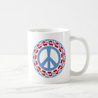 Mug Symbole de paix de la hippie 60s avec la frontière