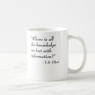 Mug T.S. Citation d'Eliot - la connaissance