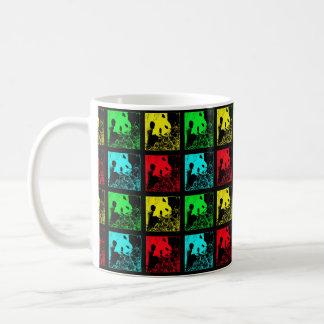 Mug Tasse, art de bruit de pandas géants, jaune rouge