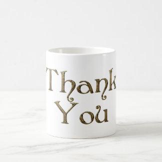 Mug Texte d'or de typographie de mercis de Merci