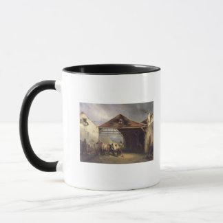 Mug Un maréchal-ferrant chaussant un cheval