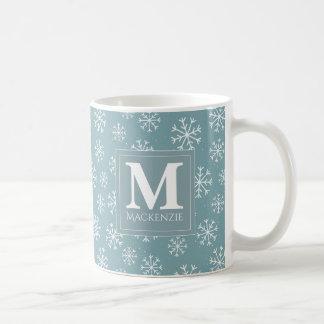 Mug Vacances décorées d'un monogramme de flocons de