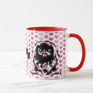 Mug Valentines - silhouette de Pekingese - cailloux