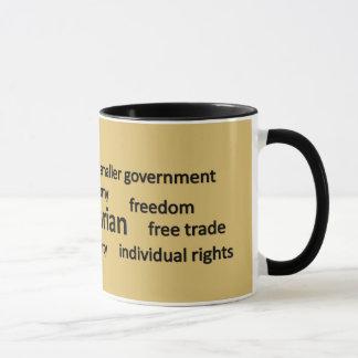 Mug Valeurs libertaires et nuage d'étiquette de