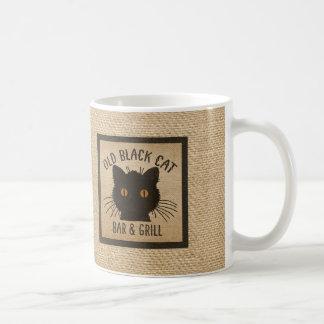 Mug Vieux bar et grill de chat noir de toile de jute