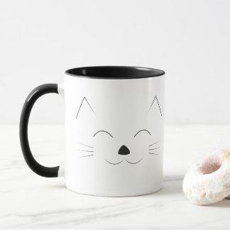 Mug Visage mignon de chat - noir