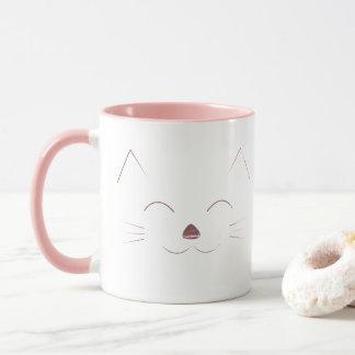 Mug Visage mignon de chat - rose