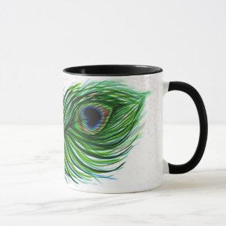 Mug Vivent la conception libre de plume de paon