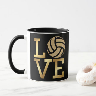 Mug Volleyball d'amour d'or de gradient - sport en