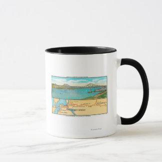 Mug Vue aérienne du pont et de la carte de Carquinez