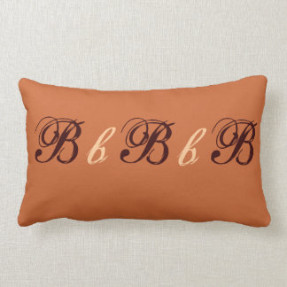 Multiple B Monogram in Brown and Beige Throw Pillow
