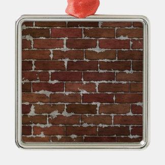 Mur de briques rouge ornement carré argenté