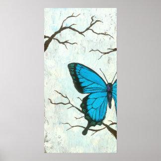 Mûres et bleu - art abstrait de papillon