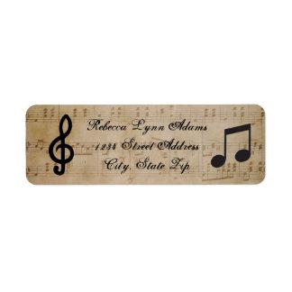 Musique de feuille - étiquette de adresse