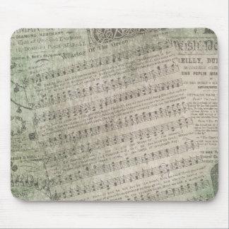 Musique de feuille vintage irlandaise, port du tapis de souris