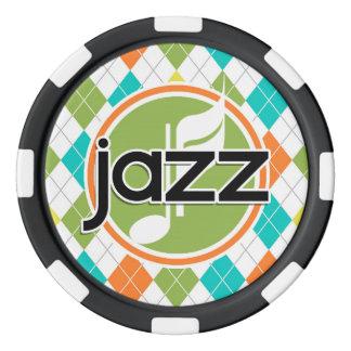 Musique de jazz ; Motif à motifs de losanges Jetons De Poker